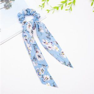 Ribbon Hair Tie Scrunchie - Floral Light Blue
